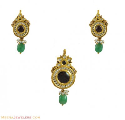 Kundan Pendant Set (22K) ( Antique Pendant Sets )