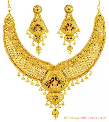 Traditional Peacock 22k Gold Set  ( Bridal Necklace Sets )