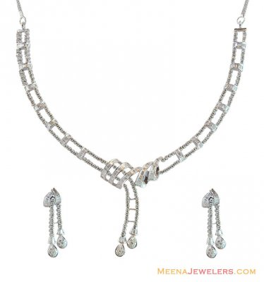 18K White Gold Necklace Set ( Diamond Necklace Sets )