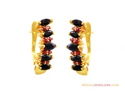 Sapphire Ruby Clip On Earrings 22k  ( Precious Stone Earrings )
