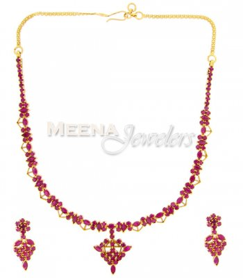 22 Kt Gold Ruby Set ( Combination Necklace Set )