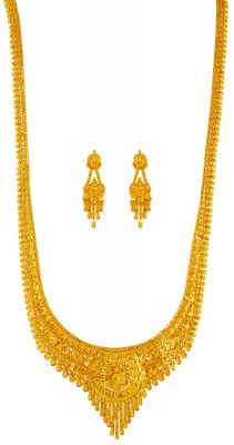 22kt Yellow Gold Long Necklace Set ( Bridal Necklace Sets )