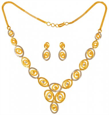 22K Gold Two Tone Necklace Set  ( Light Sets )