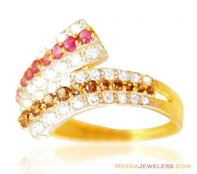 22K Designer Ruby Ring ( Ladies Rings with Precious Stones )