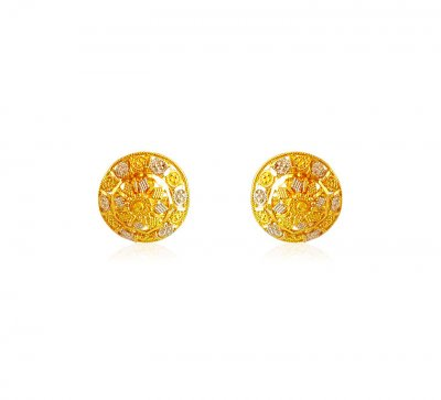 22Karat Gold Earrings with Filigree  ( 22 Kt Gold Tops )