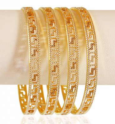 22k Gold Rhodium Bangles Set  (4pcs) ( Two Tone Bangles )
