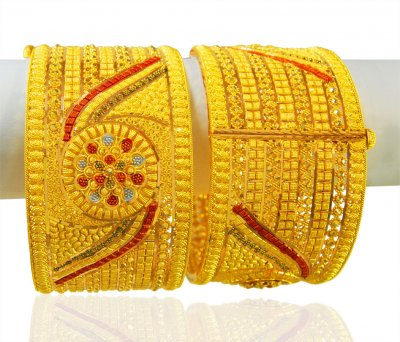 22Kt Gold Three Tone Kada (Pair) ( Kadas )