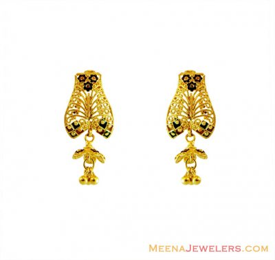 22K Filigree Earrings with Meena  ( 22Kt Gold Fancy Earrings )