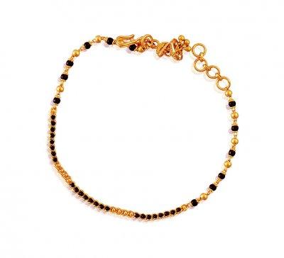 22K Black Beads Gold Bracelet ( Ladies Bracelets )