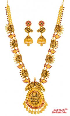 22 Karat Gold Temple Set ( Antique Necklace Sets )