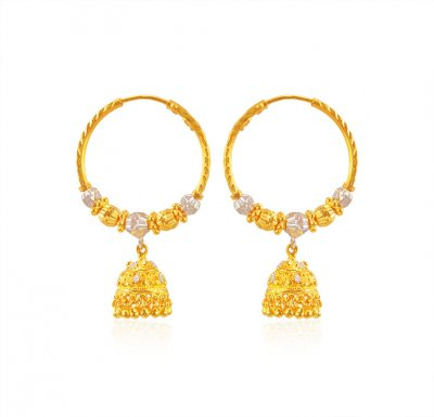 22karat Gold TwoTone Hoop Earring ( Hoop Earrings )