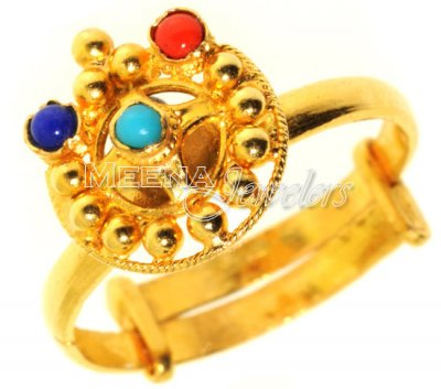 Gold Ring with Turquoise, Coral and Lapis ( Ladies Rings with Precious Stones )