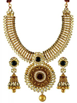 22K Antique Gold Necklace Set ( Antique Necklace Sets )
