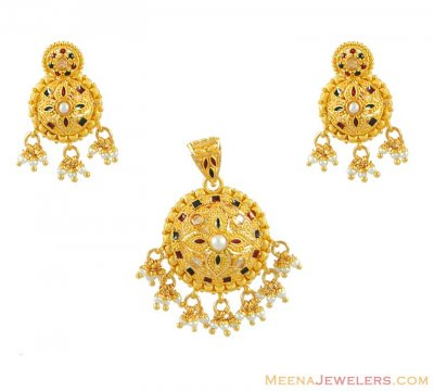 Gold Meenakari Pendant set with Pearls ( Gold Pendant Sets )