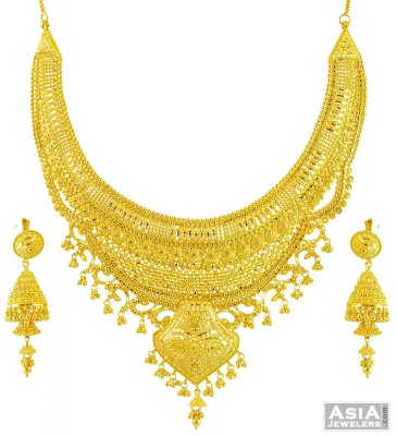 22k Three Tone Layered Necklace Set ( Bridal Necklace Sets )