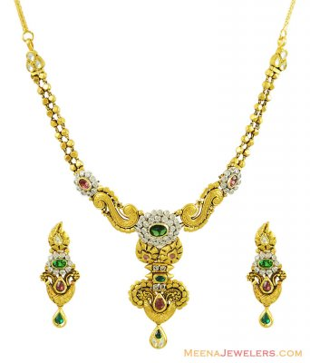 22k Exclusive Kundan Necklace Set ( Antique Necklace Sets )