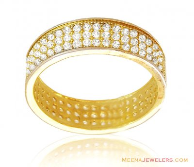 18kt Gold band with CZ ( Wedding Bands )