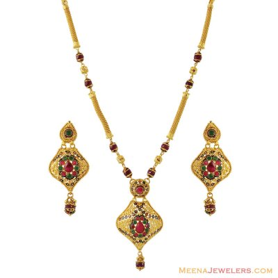 22K Designer Stones Necklace Set ( 22 Kt Gold Sets )