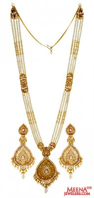 22K Gold Pearls Necklace Set ( Gold Designer Sets )