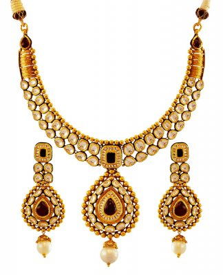 22K Antique Necklace Set ( Antique Necklace Sets )