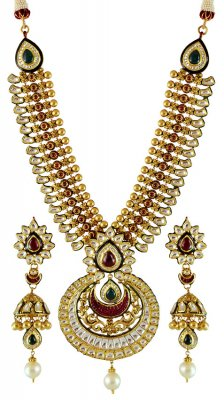 Antique Necklace Set (with Kundan) ( Bridal Necklace Sets )