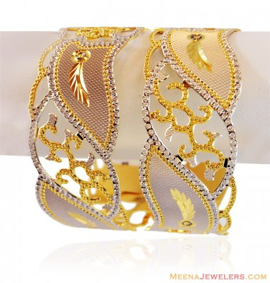 22K Designer Rhodium Bangle Set ( Two Tone Bangles )