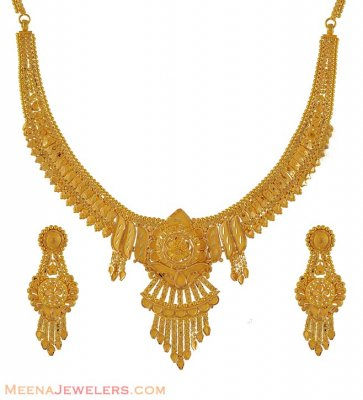 Fancy Necklace and Earring Set ( 22 Kt Gold Sets )