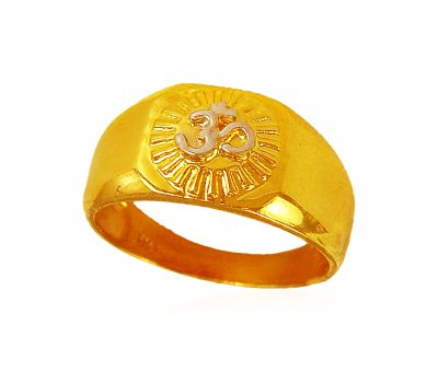 22K  Mens Om two tone Ring ( Mens Signity Rings )