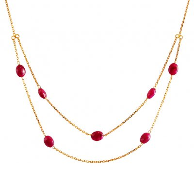 22K Gold Ruby Chain ( 22Kt Gold Fancy Chains )