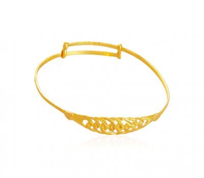 22k Gold Kids Kada - BjBa17531 - 22K Gold Baby Bangle/Kada ...