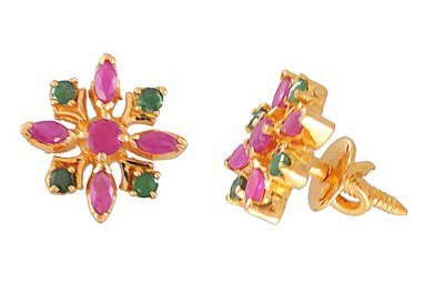 22 Kt Gold Emerald Ruby Earrings ( Precious Stone Earrings )