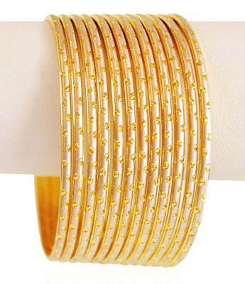 22K Gold Rhodium Bangles (12 PC) ( Set of Bangles )