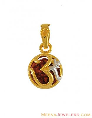 22K Om pendant with Rudraksh ( Om Pendants )