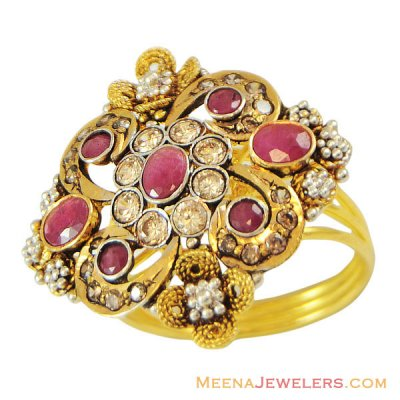 22K Antique Ruby Stone Ring ( Ladies Rings with Precious Stones )