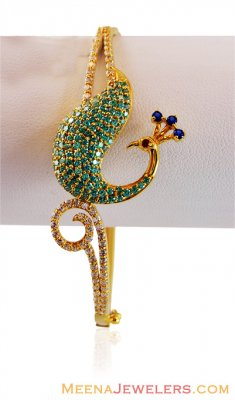 22k Clored Stone Peacock Bangle ( Stone Bangles )