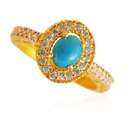 22 Karat Gold Ring with Turquoise ( Ladies Rings with Precious Stones )
