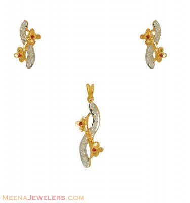 22kt Two Tone Pendant Set ( Fancy Pendant Set )