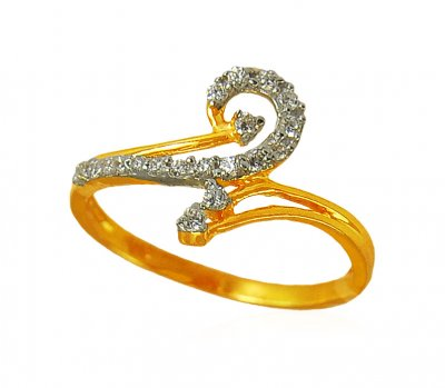 22k Gold Ring with CZ ( Ladies Signity Rings )