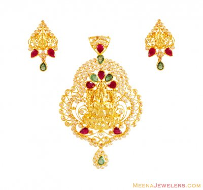 22K Pendant Set With Lakshmi ( Fancy Pendant Set )