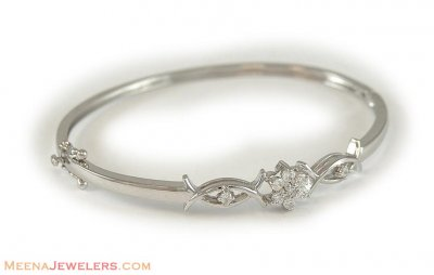18Kt White Gold Stone Bangle ( Stone Bangles )