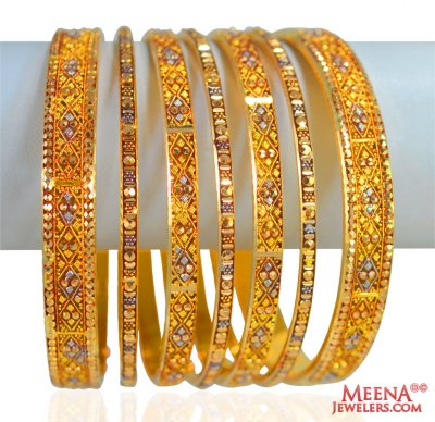 Antique Bangles Set 22K (7 Pcs) ( Set of Bangles )