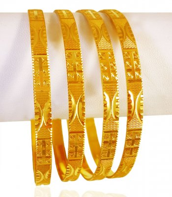 22k Gold Machine Bangles (Set of 4) ( Set of Bangles )