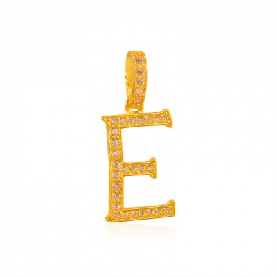 22K Gold Pendant with Initial (E) ( Initial Pendants )