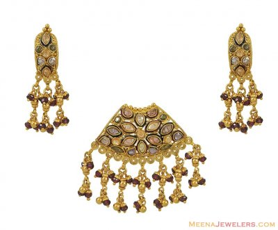 Indian Pendant Set (22 Karat Gold) ( Antique Pendant Sets )