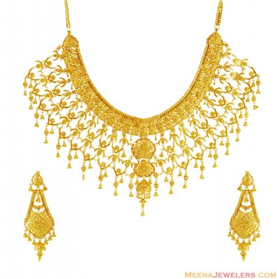 Exclusive Gold Bridal Necklace Set  ( Bridal Necklace Sets )