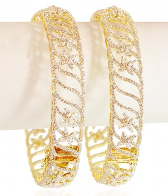 Diamond 18K Gold Bangle 2Pc ( Diamond Bangles )