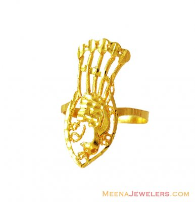 22K Gold Peacock Ring ( Ladies Gold Ring )