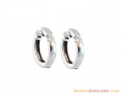 18K White Gold Solid Hoop Earrings  ( Hoop Earrings )