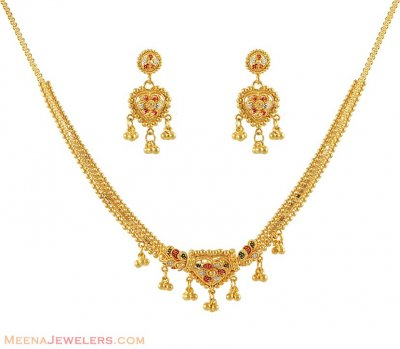 Necklace Set with Multi tone ( 22 Kt Gold Sets )