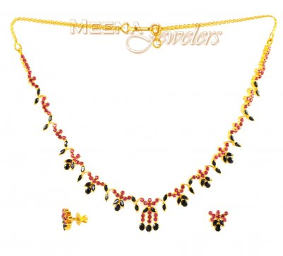 22Kt Gold Ruby and Sapphire Set ( Combination Necklace Set )
